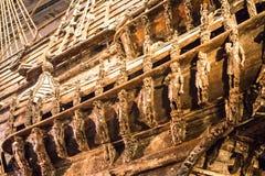 Vasa-historisches hölzernes Schiff stockbild