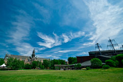 Vasa Museum, Stockholm, Sweden. Beautiful green grounds of the Vasa Museum, home of marine exhibits, Stockholm, Sweden stock photography