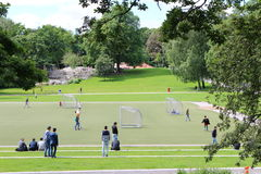Vasa Park in Stockholm. A football field and a playground in the Vasa Park Stock Photos