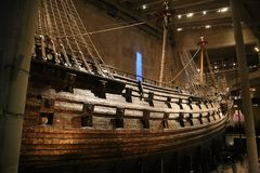 Vasa warship. right view Swedish warship that was built from 1626 to 1628. stock photo