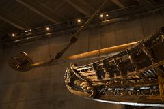 Warship vasa front mast. Vasa is the worlds only preserved 17th century ship at Stockholm in Sweden Stock Image
