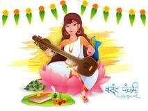 Vasant Panchami beröm med gudinnan Saraswati Royaltyfri Fotografi