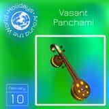 Vasant Panchami Indisch godsdienstig festival Muzikaal instrument Veena Tijdschema Vakantie rond de Wereld Gebeurtenis van elke d stock illustratie