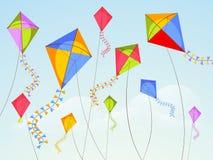 Vasant Panchami-viering met vliegende vliegers stock illustratie