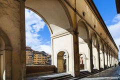 Vasari corridor along quay in Florence city Royalty Free Stock Photos