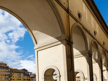 Vasari corridor in Florence city in sunny day Royalty Free Stock Images