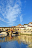Vasari corridor and Ponte Vecchio over the Arno River, Florence Royalty Free Stock Photos