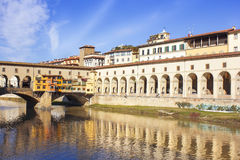 Vasari corridor and Ponte Vecchio over the Arno River, Florence Stock Images