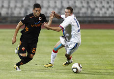 Vasas vs. AS Roma (0:1) football game Stock Images