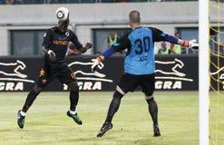 Vasas vs. AS Roma (0:1) football game Stock Images