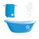 Vasca da bagno e tovagliolo. Fotografia Stock Libera da Diritti