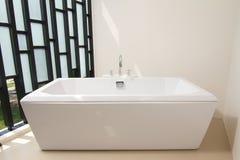 Vasca di bagno di lusso con il rubinetto Fotografia Stock