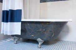 Vasca di Clawfoot con i piedi dell'artiglio del platino Fotografia Stock Libera da Diritti