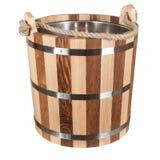 Vasca di legno isolata per un bagno Fotografia Stock