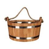 Vasca di legno per un bagno Fotografia Stock Libera da Diritti