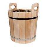 Vasca di legno su un fondo bianco Immagini Stock