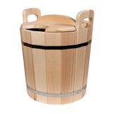 Vasca di legno vuota per un bagno Immagini Stock