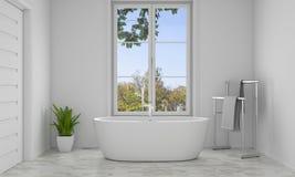 Vasca interna del bagno con la vista della natura, rappresentazione 3D Fotografia Stock