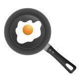 Vaschetta con l'uovo fritto Fotografia Stock