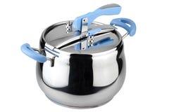 Vaschetta di pressione con le maniglie blu fotografia stock