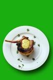 Vaschetta fritta o porco del barbecue con il percorso di clipping Fotografia Stock Libera da Diritti