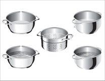 Vaschette del cuoco dell'acciaio inossidabile Immagini Stock