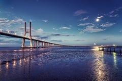 Vasco da Gama beautiful bridge in Lisbon, Portugal Stock Photography