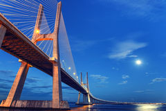 Vasco da Gama beautiful bridge in Lisbon, Portugal Royalty Free Stock Image