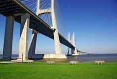Vasco da Gama Bridge. Detail of Vasco da Gama Bridge and surrouding park in Lisbon Portugal royalty free stock images