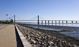 Vasco da Gama Bridge. Modern cable-stayed bridge over the Tagus River in Lisbon Royalty Free Stock Images