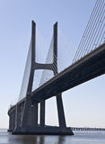 Vasco da Gama Bridge. Modern cable-stayed bridge over the Tagus River in Lisbon Royalty Free Stock Photos