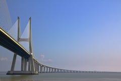 Vasco da Gama bridge. On river Tagus, Lisbon stock images