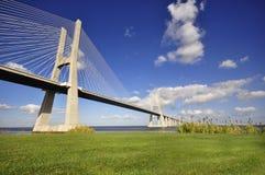 Vasco da Gama Bridge. Crossing the Tagus river, in Lisbon, Portugal stock image