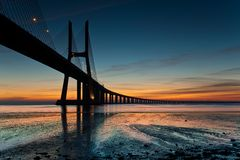 Vasco da Gama bridge. A good exercise of the modern architecture is the new bridge over the tagus river in Lisbon Stock Image