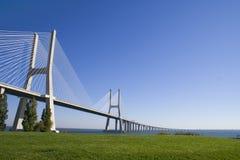 Vasco da Gama bridge. Full view of Vasco da Gama bridge architecture stock image