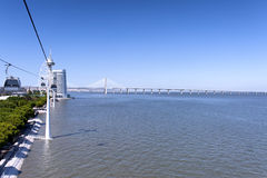 Vasco da Gama Bridge. View from the cable car on Vasco de Gama Bridge and Tower Royalty Free Stock Photo