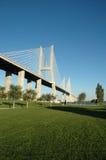 Vasco da Gama Bridge. Cable-stayed bridge Vasco da Gama in Lisbon - Portugal stock image