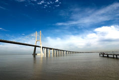 Vasco da gama bridge. Over the tagus river is the largest bridge in all Europe Royalty Free Stock Images