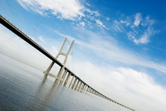 Vasco da gama bridge. Over the tagus river is the largest bridge in all Europe Royalty Free Stock Photos