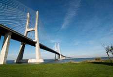 Vasco da gama bridge. Over the tagus river is the largest bridge in all Europe Stock Images