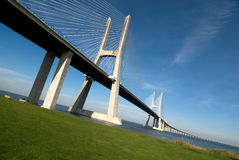 Vasco da gama bridge. Over the tagus river is the largest bridge in all Europe Stock Photo