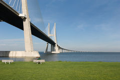 Vasco da gama bridge. Over the tagus river is the largest bridge in all Europe Royalty Free Stock Photography