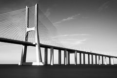 Vasco da Gama bridge b/w Stock Images