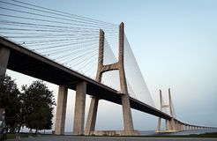 Vasco da Gama Bridge - cable-stayed bridge, flanked by viaducts Royalty Free Stock Photos