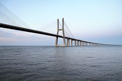 Vasco da Gama Bridge - cable-stayed bridge, flanked by viaducts Stock Photos
