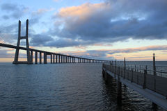 Vasco da Gama bridge crossing with another bridge Stock Image