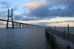 Vasco da Gama bridge crossing with another bridge. Lisbon, Portugal Stock Image