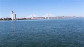 The Vasco da Gama Bridge Crossing the River Tagus stock video footage