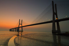 Vasco da Gama Bridge at dawn Stock Photography