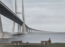 Vasco da Gama Bridge is een kabel-gebleven die brug door viaducten wordt geflankeerd en rangeviews dat spanwijdten de Tagus-Rivie Royalty-vrije Stock Afbeeldingen